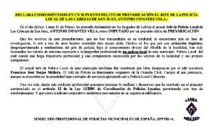 Declara como imputado en un supuesto delito de prevaricación el jefe de la Policía Local de Las Cabezas de San Juan, Antonio Infantes Vela. Las Cabezas de San Juan-Sevilla