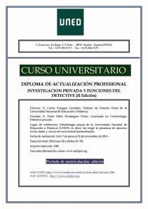 CURSO (UNED) INVESTIGACIÓN PRIVADA Y FUNCIONES DEL DETECTIVE (II Edición)