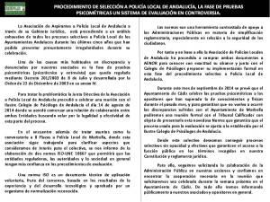 NOTA ASPLA (Asociación de Aspirantes a Policía Local de Andalucía): LA FASE DE PRUEBAS PSICOMÉTRICAS, UN SISTEMA DE EVALUACIÓN EN CONTROVERSIA